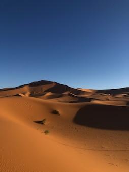 Disparo vertical de un desierto con dunas de arena en un día soleado