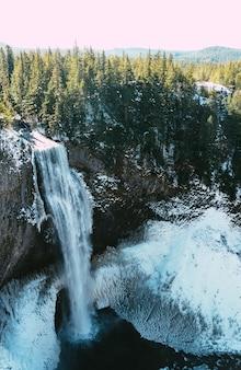 Disparo vertical de una hermosa cascada y un bosque en invierno