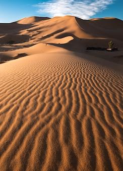 Disparo vertical de los patrones en las hermosas dunas de arena en el desierto
