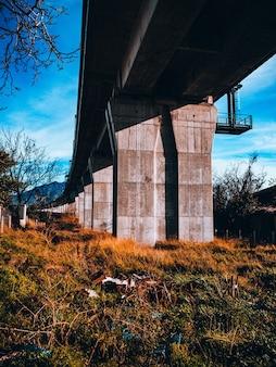 Disparo vertical de un puente de piedra y un campo de césped verde y amarillo debajo