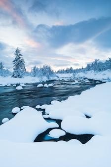 Disparo vertical de un río con nieve y un bosque cerca cubierto de nieve en invierno en suecia