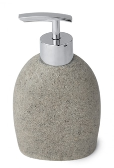 Dispensador de jabón de piedra de cerámica aislado en blanco