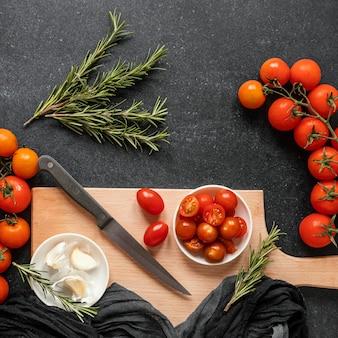 Disposición de alimentos saludables para estimular la inmunidad.