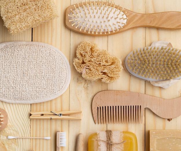 Disposición de artículos de higiene plana