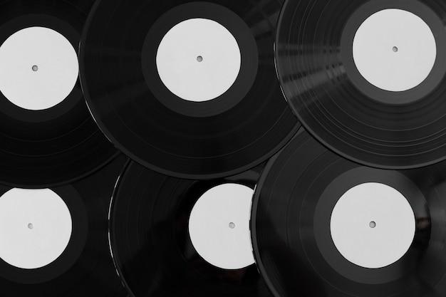 Disposición de discos de vinilo de vista superior