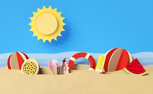 Disposición de elementos de naturaleza muerta de verano.