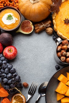 Disposición del espacio de copia de comida de otoño