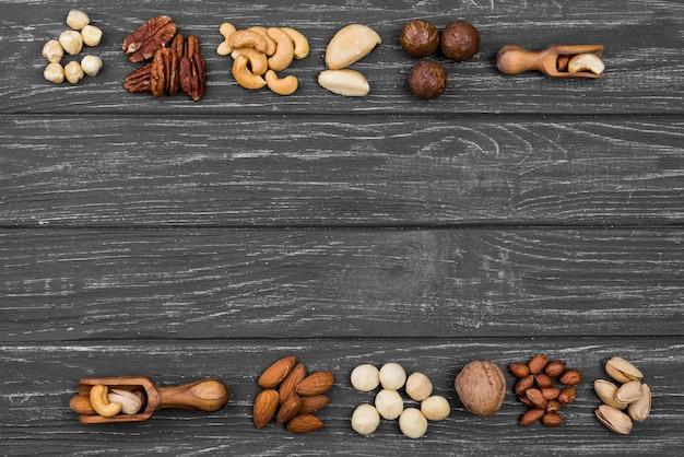 Disposición del espacio de copia de frutos secos orgánicos