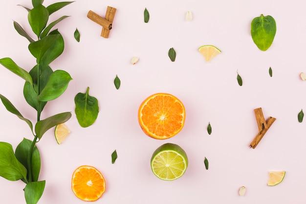 Disposición de frutas tropicales y follaje verde.