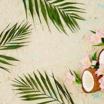 Disposición de hojas verdes cerca de flores y coco entre la arena.