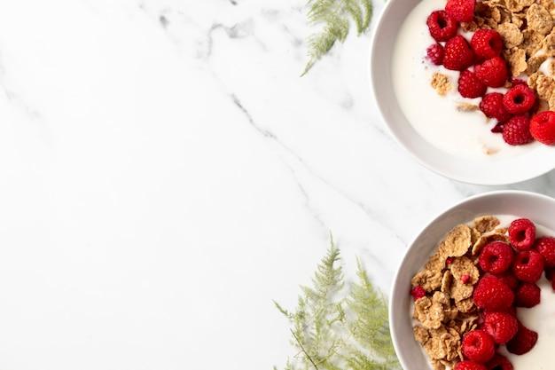 Disposición plana de cereales tazón de fuente saludable con espacio de copia
