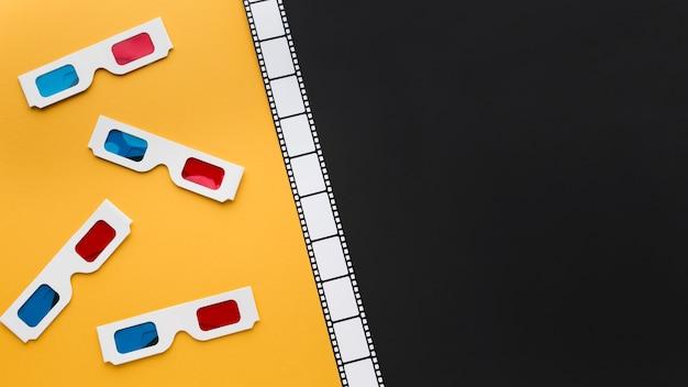 Disposición plana de elementos de cinematografía con espacio de copia