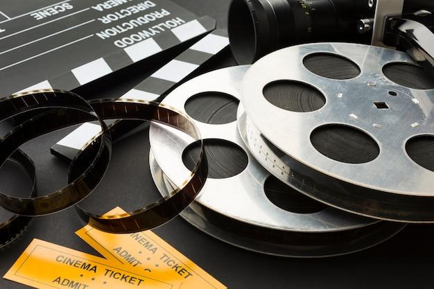 Disposición de primeros planos de objetos de cine