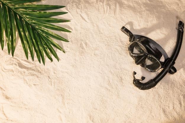 Disposición de verano de hoja de palmera y máscara de natación.