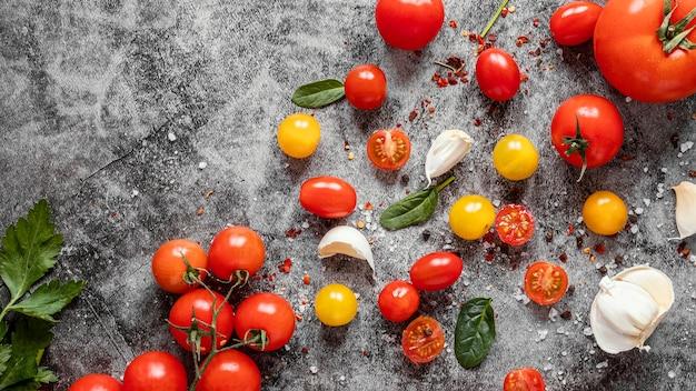 Disposición de la vista superior de alimentos saludables para aumentar la inmunidad