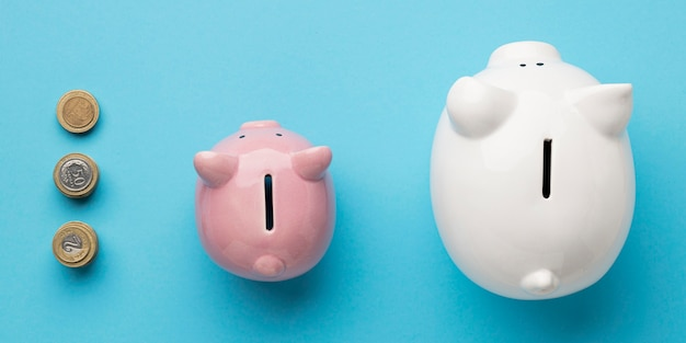 Disposición de la vista superior de elementos financieros