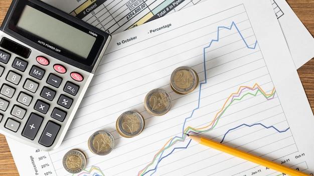 Disposición de la vista superior de los elementos financieros