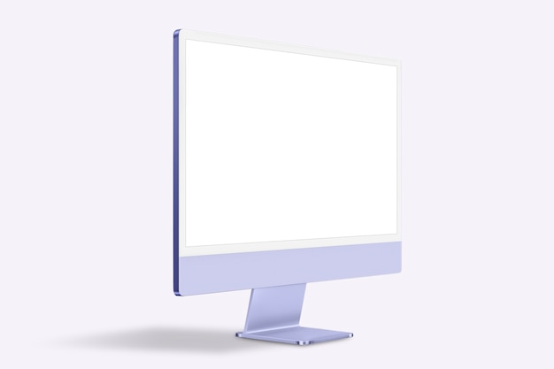 Dispositivo digital de pantalla de escritorio de computadora mínima púrpura con espacio de diseño