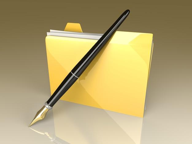 Un dispositivo de documentos escritos.