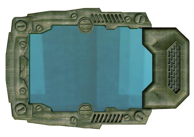 Dispositivo de tableta futurista, estilo militar, utilizado para la comunicación a larga distancia