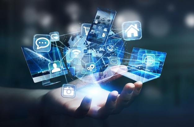 Dispositivos e iconos tecnológicos conectados al planeta tierra digital.