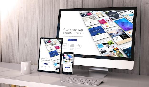 Dispositivos en el escritorio, creador de sitios web en la pantalla. representación 3d.