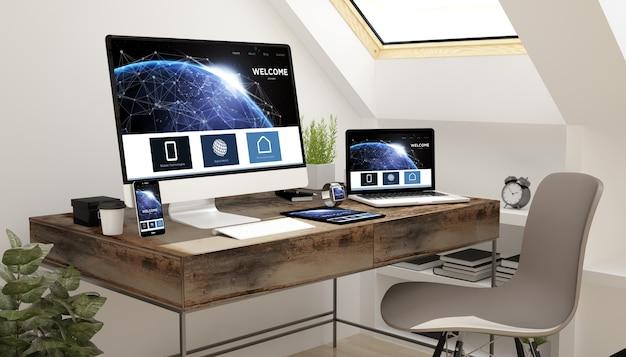Dispositivos de estudio del ático con sitio web