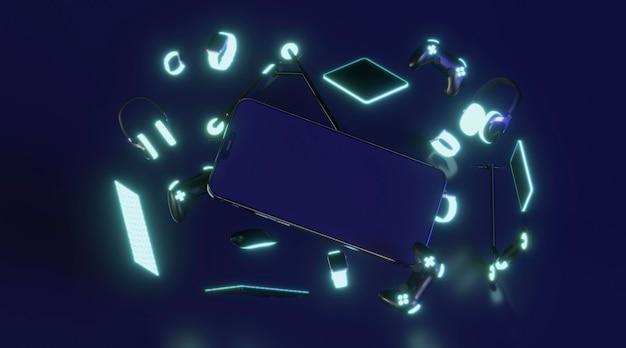 Dispositivos modernos con luz de neón.