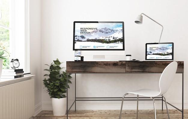 Dispositivos de oficina en casa renderizado 3d sitio web de diseño receptivo