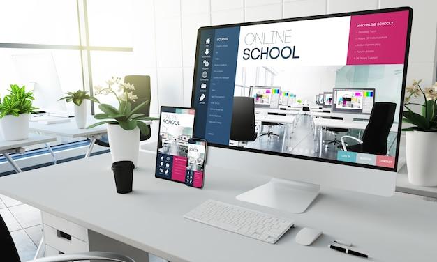 Dispositivos de pantalla de escuela en línea en la representación 3d de la oficina de coworking