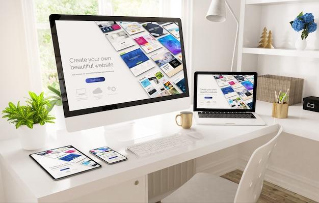 Dispositivos receptivos en la configuración de la oficina en casa que muestran la representación 3d del creador de sitios web