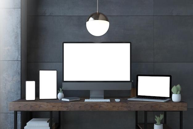 Dispositivos receptivos en una elegante representación 3d de escritorio