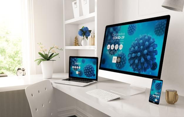 Dispositivos receptivos en el escritorio doméstico que muestran la representación 3d del sitio web de información de covid-19