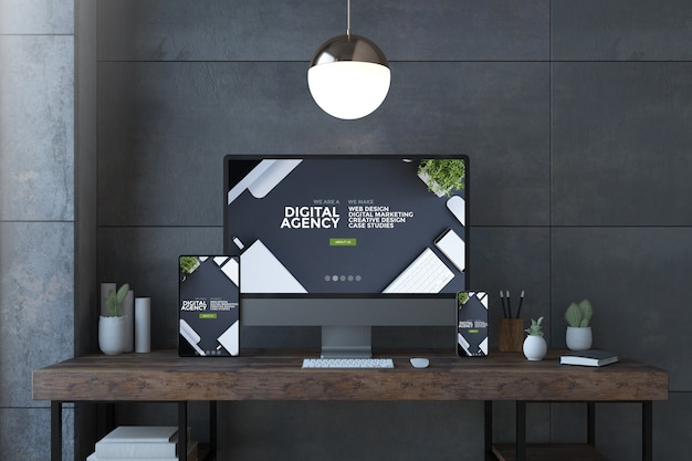Dispositivos receptivos en un escritorio elegante con representación 3d del sitio web de la agencia digital