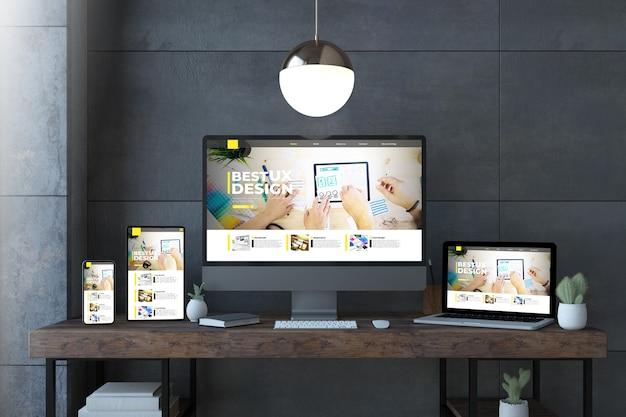 Dispositivos receptivos en un escritorio elegante con representación 3d del sitio web de diseño ux