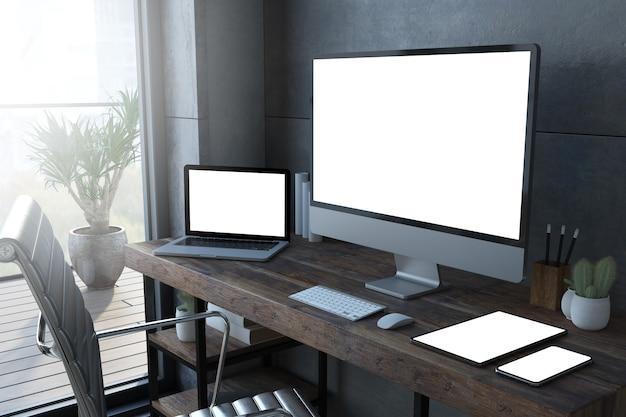 Dispositivos receptivos en una maqueta de renderizado 3d de escritorio