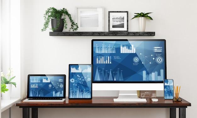 Dispositivos receptivos en una oficina en casa que muestran las finanzas en la pantalla
