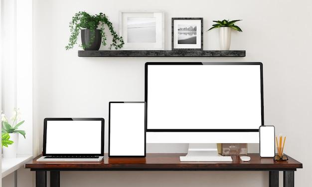 Dispositivos receptivos en una oficina en casa
