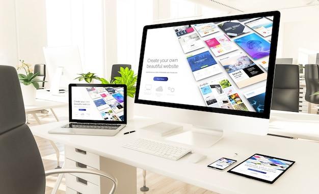 Dispositivos receptivos que muestran el sitio web receptivo del constructor en la oficina del loft. representación 3d