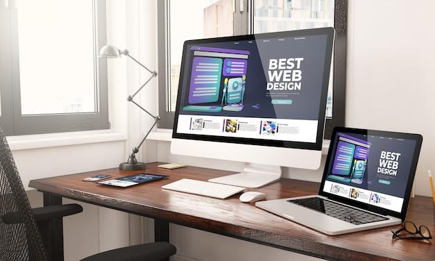 Dispositivos con renderizado 3d de escritorio de diseño web receptivo
