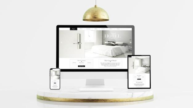 Dispositivos de respuesta de tableta, teléfono y computadora en la representación 3d de la maqueta de la plataforma de mármol y oro