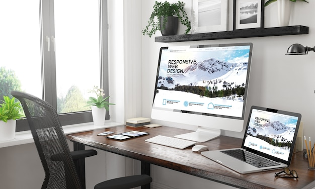 Dispositivos sensibles en blanco y negro sitio web de montaña sensible