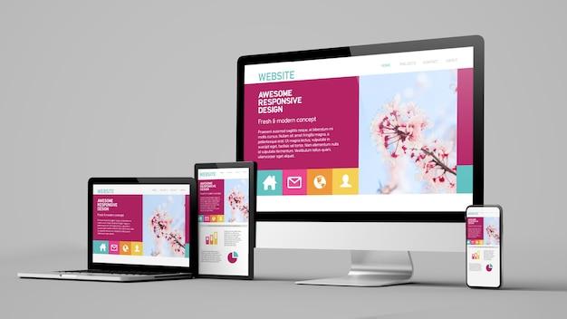 Dispositivos de sitio web de diseño receptivo aislados en maqueta de representación 3d de fondo blanco