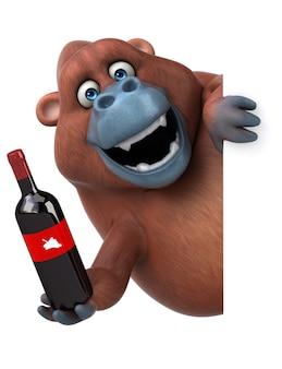 Diversión orangután - ilustración 3d