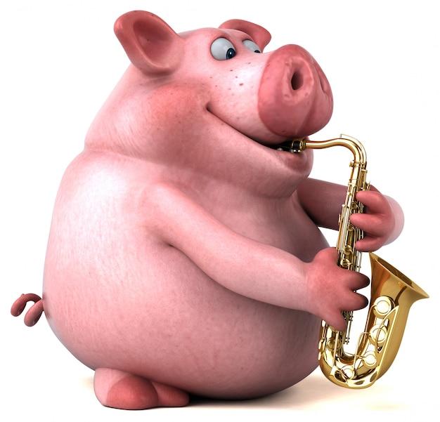 Divertida animación de cerdo