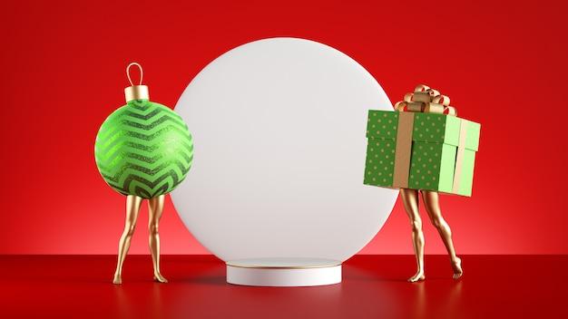 Divertida caja de regalo 3d y bola con patas doradas cerca del pedestal vacío y pizarra blanca redonda