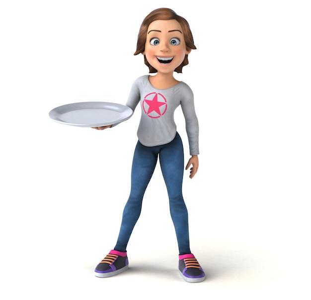 Divertida ilustración 3d de una adolescente de dibujos animados