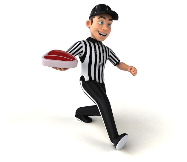 Divertida ilustración 3d de un árbitro americano