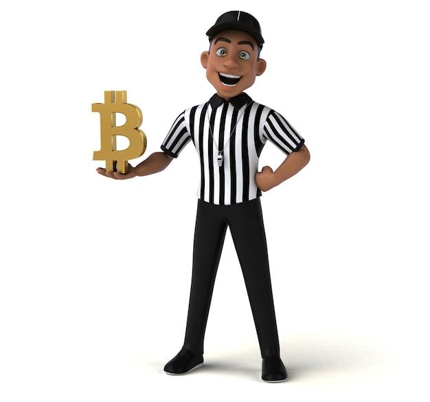 Divertida ilustración 3d de un árbitro estadounidense