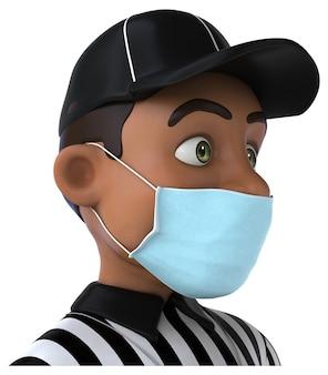 Divertida ilustración 3d de un árbitro negro con una máscara